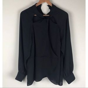 City Chic Black Sheer Cut Out Front Blouse